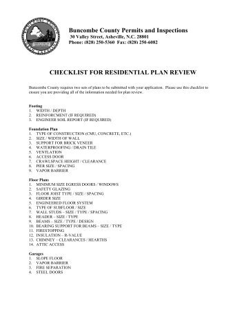 CHECKLIST FOR RESIDENTIAL PLAN REVIEW Buncombe County ...