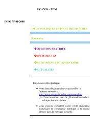INFOS PRATIQUES 01 .2008 - Ucanss