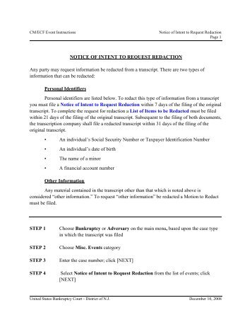 O:\CMECF\Participant Instructions V3\Notice of Intent to Request ...