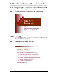 Unit 2: Supporting the customers of supported employment