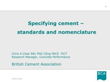 Specifying cement – standards and nomenclature - Starnet