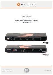User Manual 1 by 4 Mini DisplayPort Splitter AT-MDP14 - Atlona