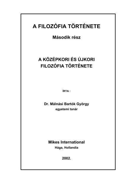 A Középkori És Újkori Filozófia Története - Hollandiai Magyar ...