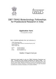 DBT-TWAS Biotechnology Fellowships for Postdoctoral Research in ...