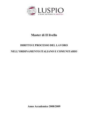 Master di II livello - degli studi per l'innovazione e le organizzazioni ...