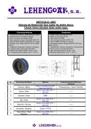 ARTICULO: 2401 Válvula de Retención tipo wafer de ... - Lehengoak