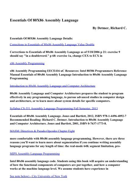 Download Essentials Of 80X86 Assembly Language Pdf Ebooks By