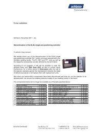 To our customers Schlieren, November 2011 / Jac ... - Schlatter