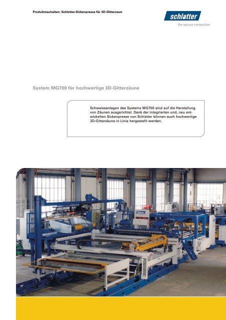 System MG700 für hochwertige 3D-Gitterzäune - Schlatter