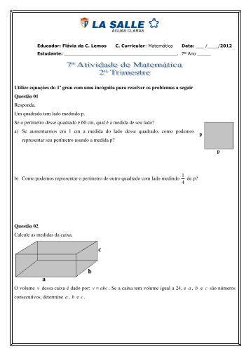 Utilize equações do 1º grau com uma incógnita para ... - La Salle