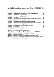 Vrijwilligersbeleid gemeente Hoorn 2009-2012 - Vereniging van ...