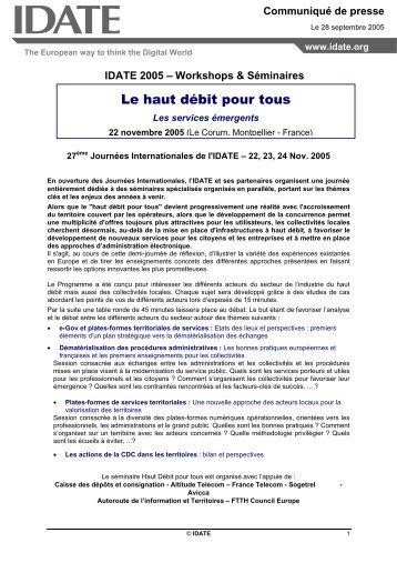 """CP """"Le Haut débit Pour Tous"""" - Idate"""
