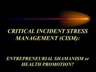 (CISM): Entrepreneurial shamanism or health promotion? (PDF)