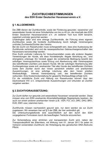 Zuchtbuchbestimmungen des EDH - EDH eV
