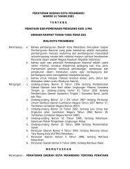 peraturan daerah kota pekanbaru nomor 11 tahun 2001 tentang ...