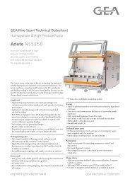 GEA Niro Soavi Ariete NS5250 Tech Sheets ENG Rev05 2012