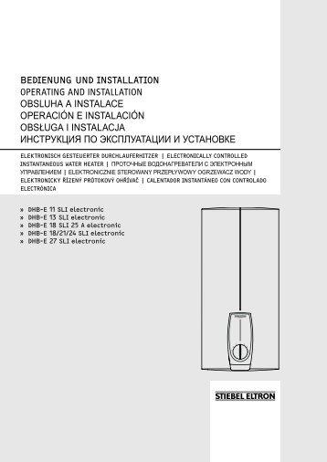 Bedienung und installation Operating and installatiOn OBSLUHA A ...