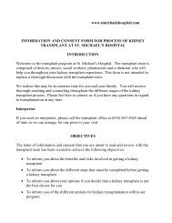 Transplant Info and Consent Form - St. Michael's Hospital