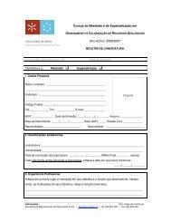 Cursos de Mestrado e de Especialização em Ano lectivo: 2006/2007