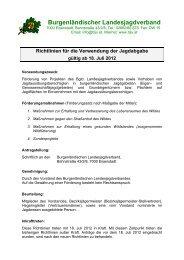 Richtlinien für die Verwendung der Jagdabgabe gültig ab 18. Juli ...