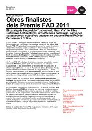 Obres finalistes dels Premis FAD 2011 - Ordem dos Arquitectos