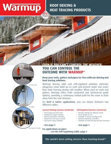 roof deicing & heat tracing products you can control the ... - Warmup
