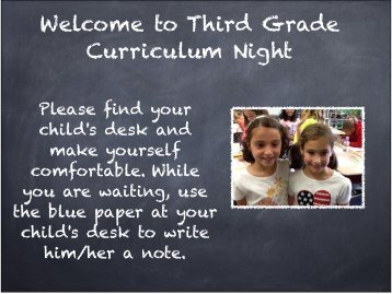 Welcome to Third Grade Curriculum Night - Solon City Schools