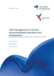 REPORT - Self-management of chronic musculoskeletal disorders 09 2014