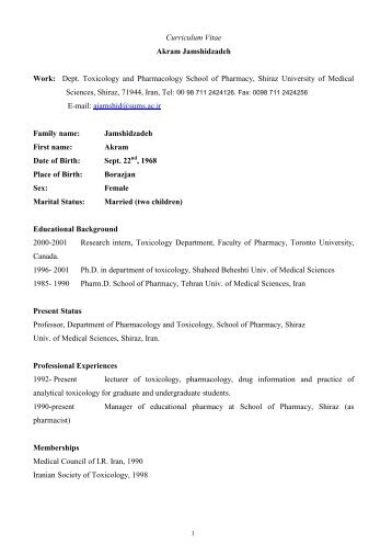 Curriculum Vitae - Shiraz Pharmacy School