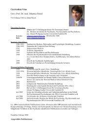Curriculum Vitae Univ-.Prof. Dr. med. Johannes Pantel