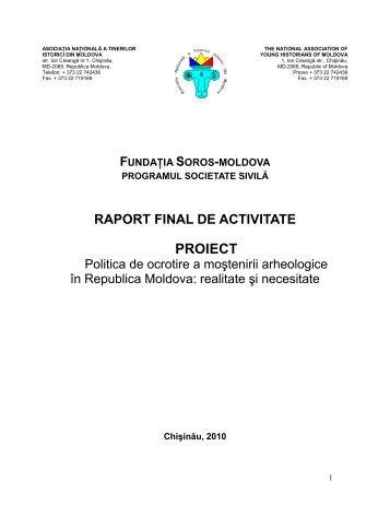 Raportul final al proiectului - Asociatia Tinerilor Istorici din Moldova