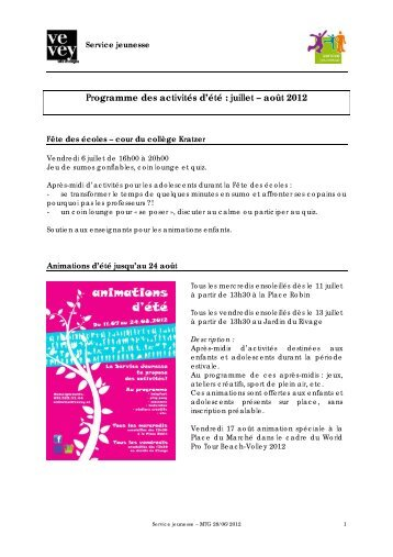 Programme des activités d'été : juillet – août 2012 - Vevey