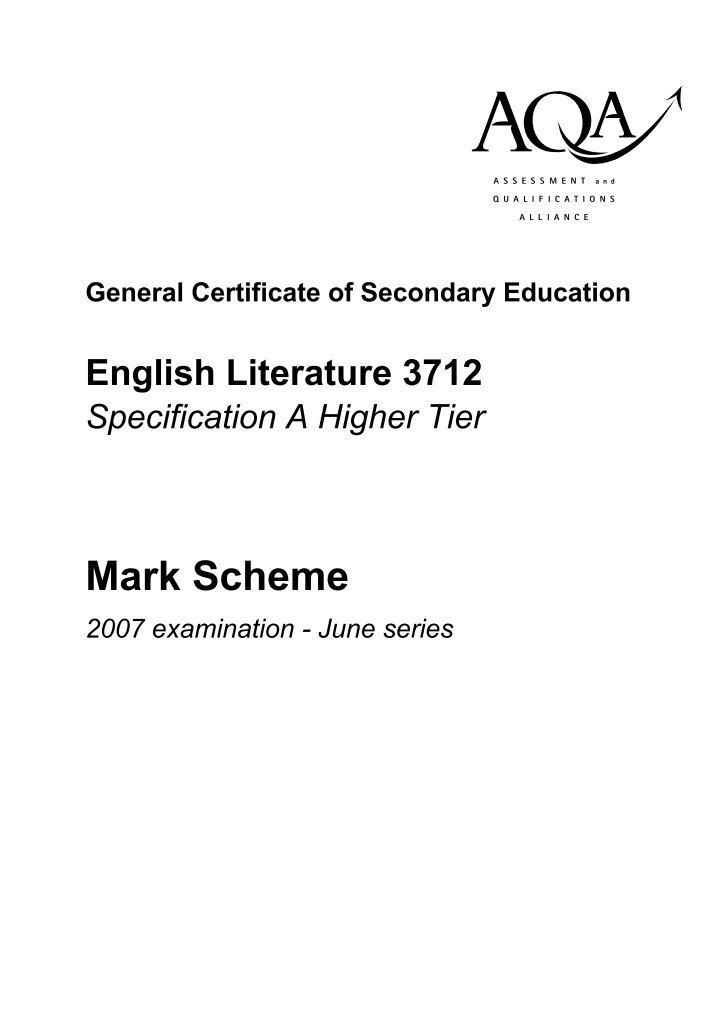 english literature a level coursework mark scheme Level coursework unit f664: texts in time it is important to note that the specification is the document on which assessment is based it specifies the content and skills to be covered in.