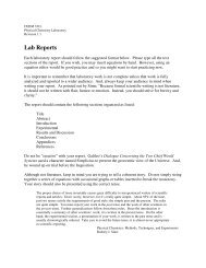 Format for Lab Reports