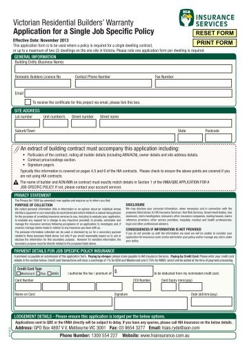 Home Warranty Insurance - VIC Multi Unit Application form