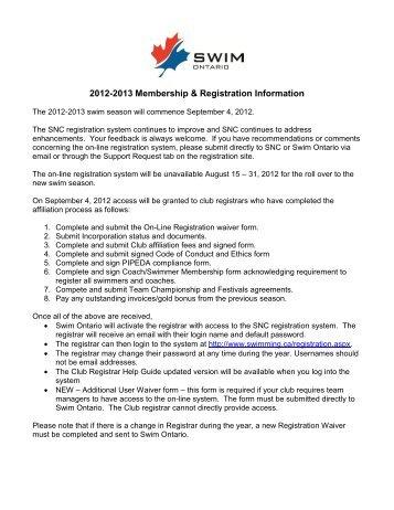 2008-2009 Registration Information Package - Swim Ontario