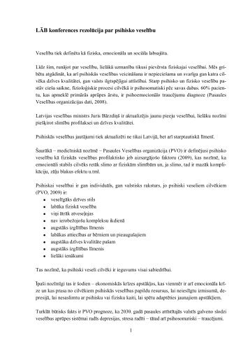 LĀB konferences rezolūcija par psihisko veselību