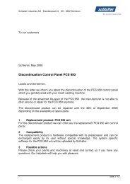Discontinuation Control Panel PCS 950 - Schlatter