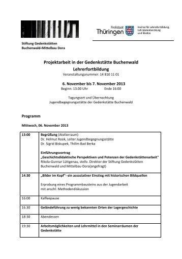 Projektarbeit in der Gedenkstätte Buchenwald Lehrerfortbildung