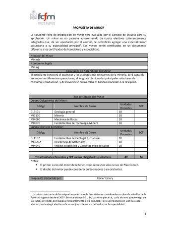 Minor en Minería - Escuela de Ingeniería y Ciencias