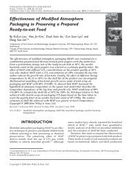Effectiveness of modified atmosphere packaging in preserving a ...