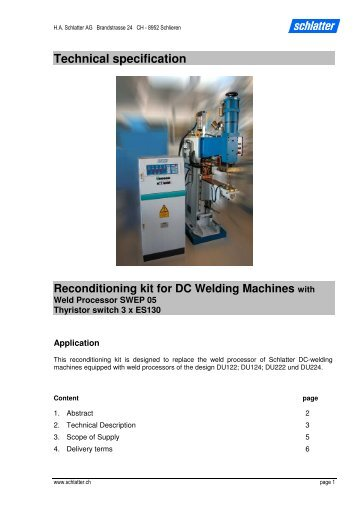 Technical specification Reconditioning kit for DC Welding ... - Schlatter