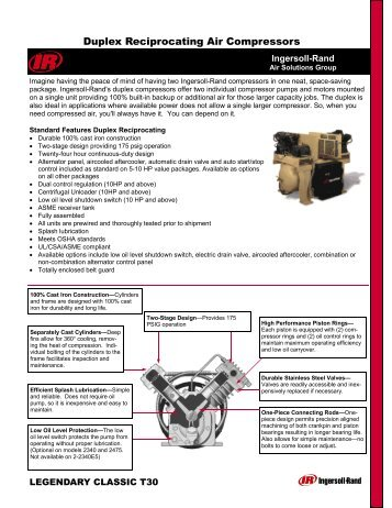 Duplex Reciprocating Air Compressors - Air Systems, LLC