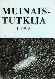 MUINAI. - UTKIJ - Suomen arkeologinen seura ry.