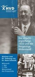 Die »Macht ergreifung« 1933 und der freigeistige ... - HVD-Bayern