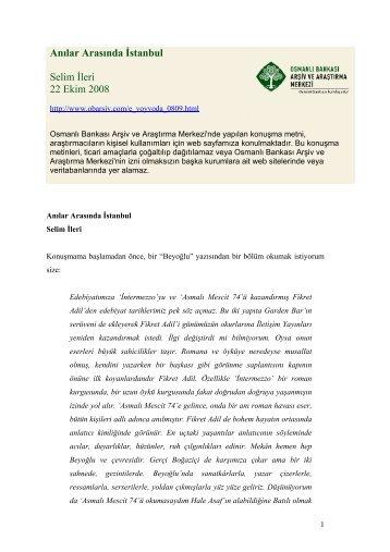 Anılar Arasında İstanbul - Osmanlı Bankası Arşiv ve Araştırma Merkezi