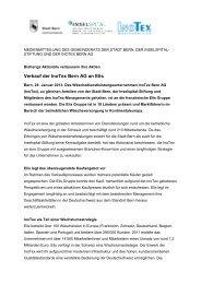 Verkauf der InoTex Bern AG an Elis - Wirtschaftsraum Bern