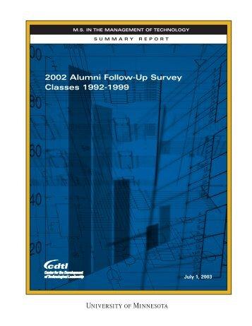 2002 Alumni Follow-Up Survey Classes 1992-1999 - Technological ...
