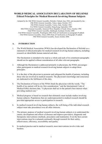 WORLD MEDICAL ASSOCIATION DECLARATION OF HELSINKI ...