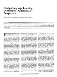Foreign Language Learning Difficulties: An Historical Perspective